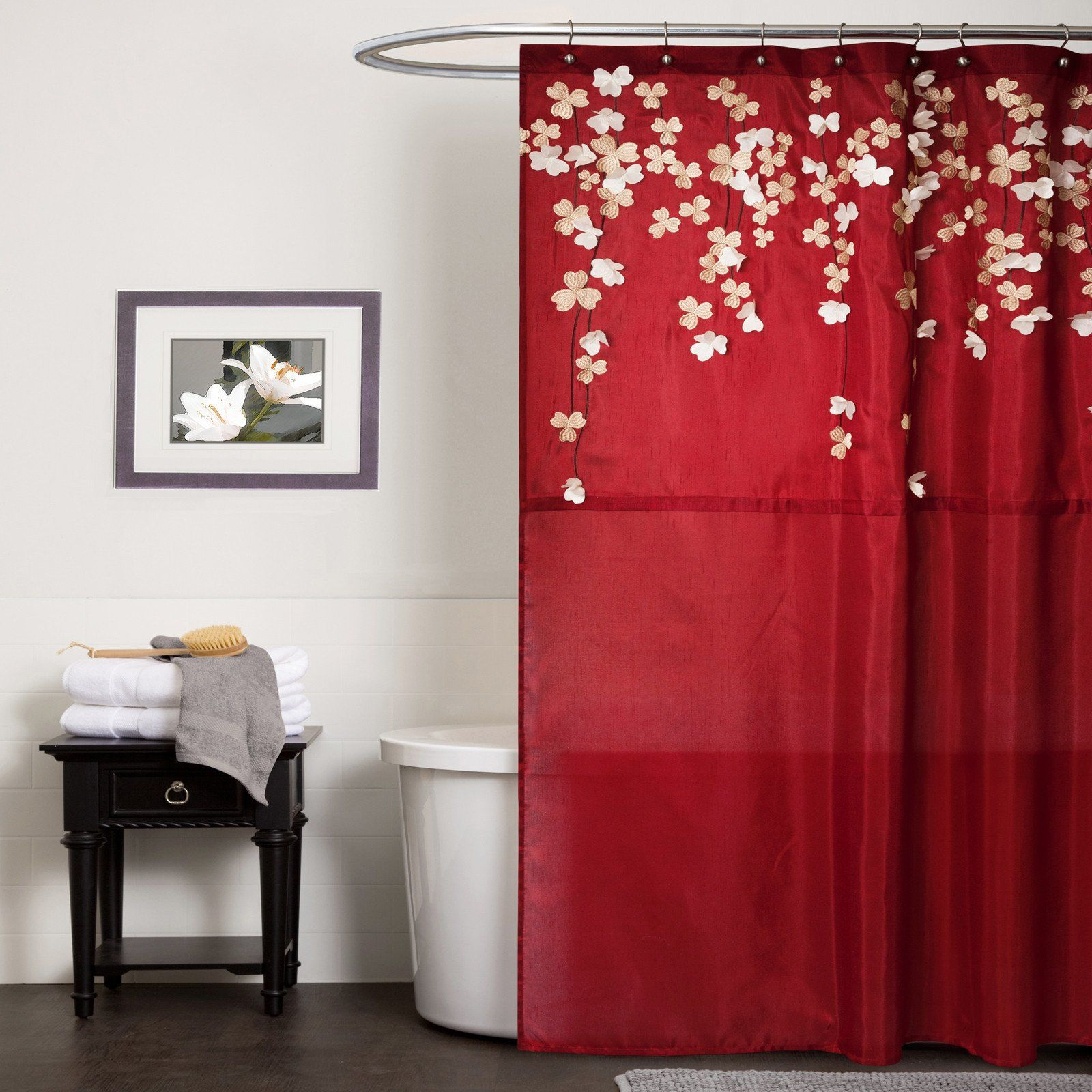 Flower Drops Shower Curtain Red Shower Curtains Red Bathroom Accessories Bathroom Red