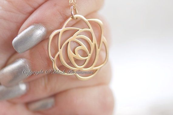 NEW  Rose Necklace  Large Natural Bronze Open by blackpersimmons, $32.00