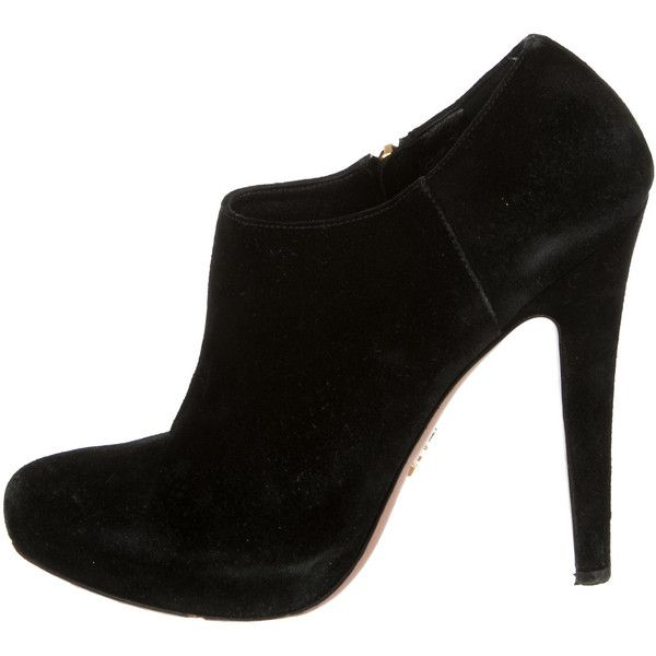 Prada Round-Toe Suede Booties stockist online cheap sale geniue stockist 2jBs3Y