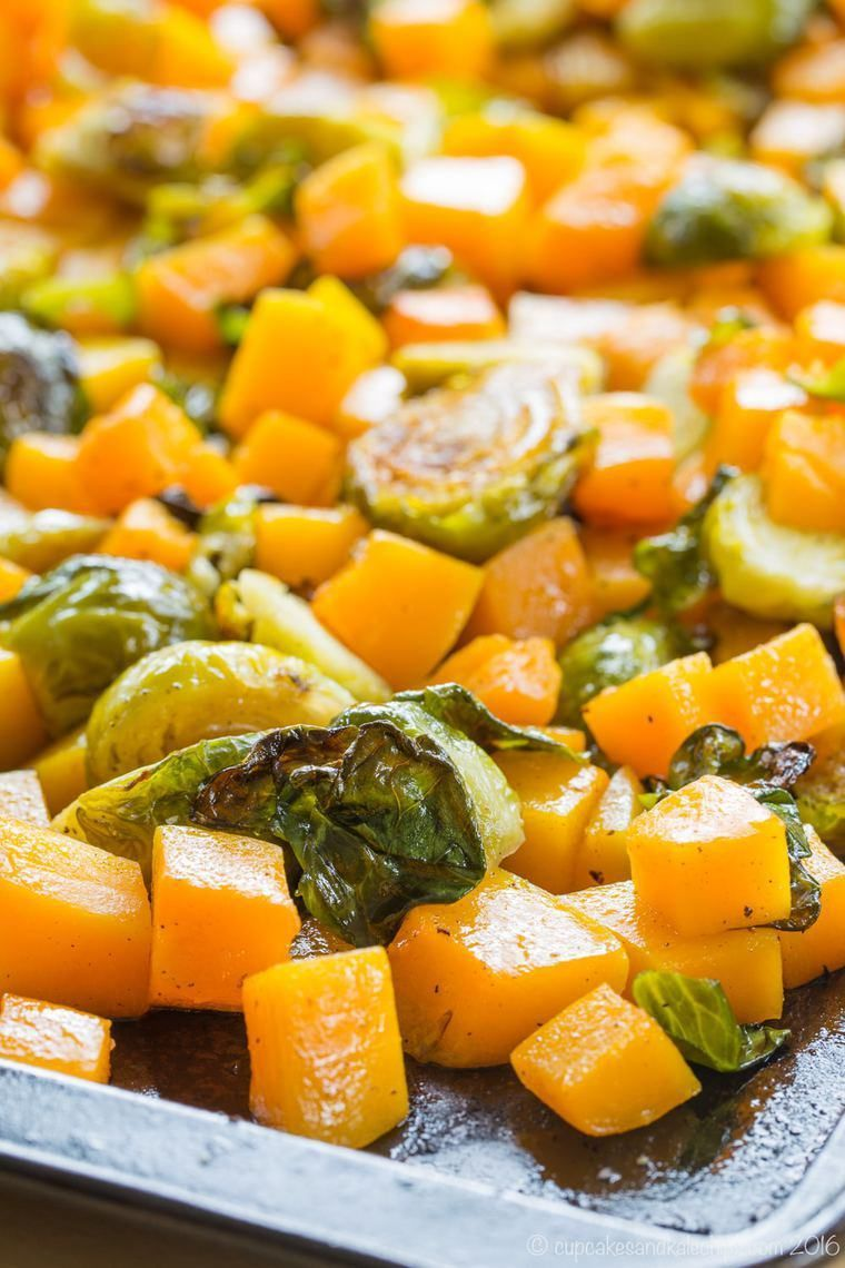 Roasted Brussels Sprouts and Butternut Squash - an easy vegetable side dish recipe with only a few ingredients, but exploding with flavor, especially if you use the secret ingredient to make it even more delicious. This healthy veggie side is also gluten free, vegan, and paleo.