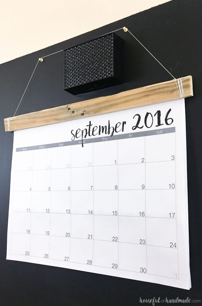 DIY Giant Rustic Wall Calendar with Printable Pinterest Rustic
