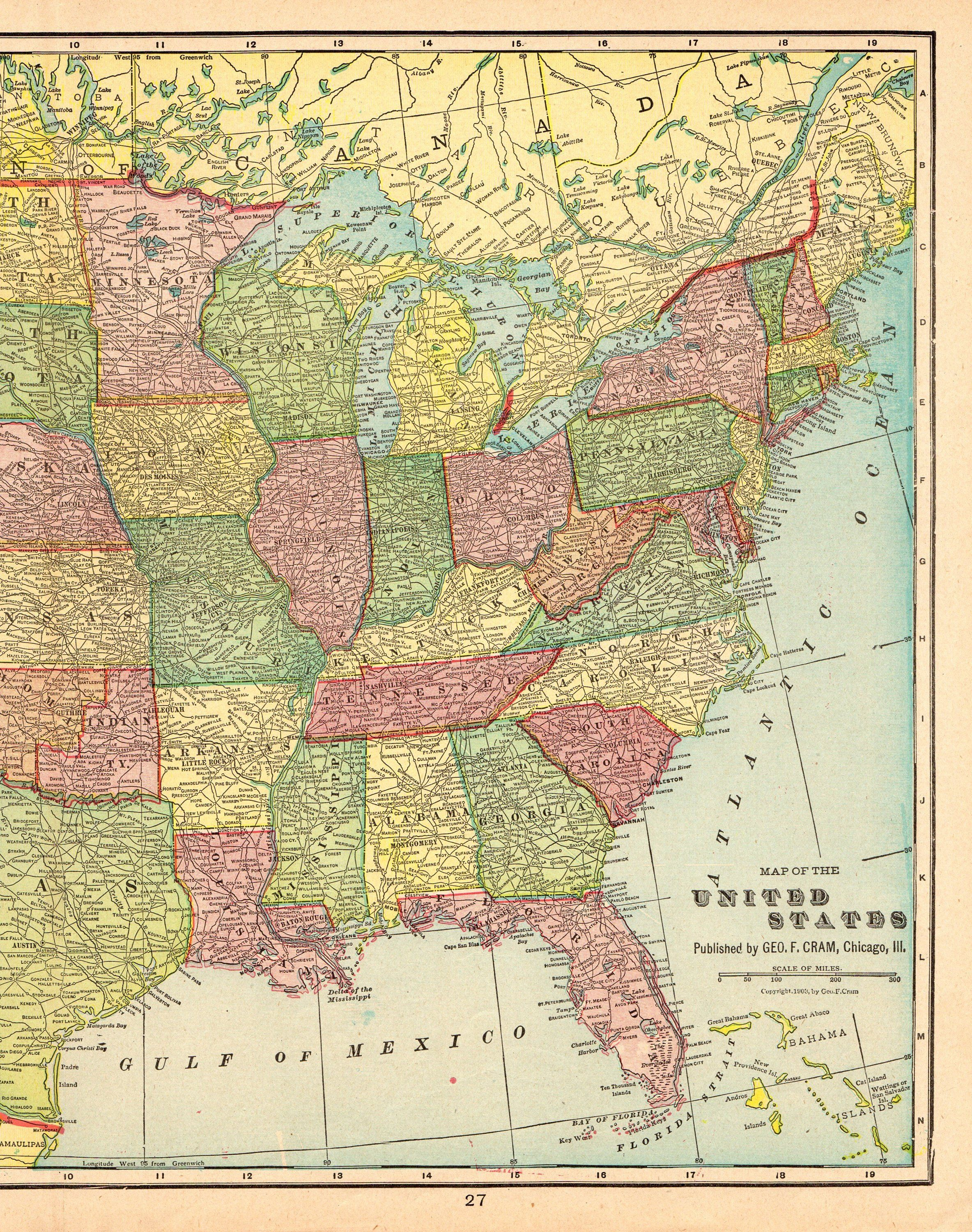 1888 Antique UNITED STATES Map Vintage Usa Map Gallery Wall Art ...