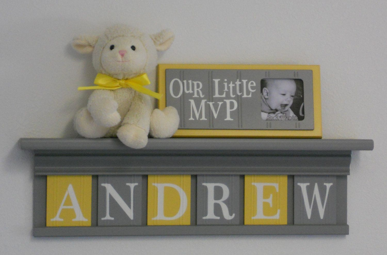 Baby Boy Room Decoration Name Nursery Decor 24 Shelf Gray And 6 Wooden Wall Letters Yellow Andrew 43 00 Via Etsy