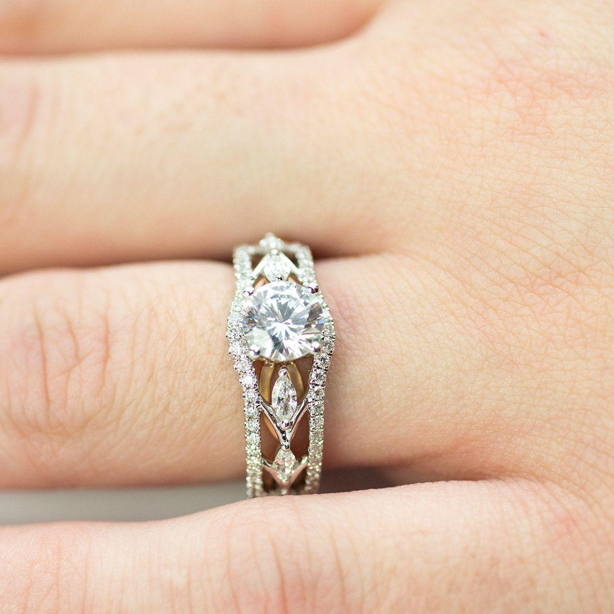 Simon G White and Rose Gold Engagement Mounting Wedding