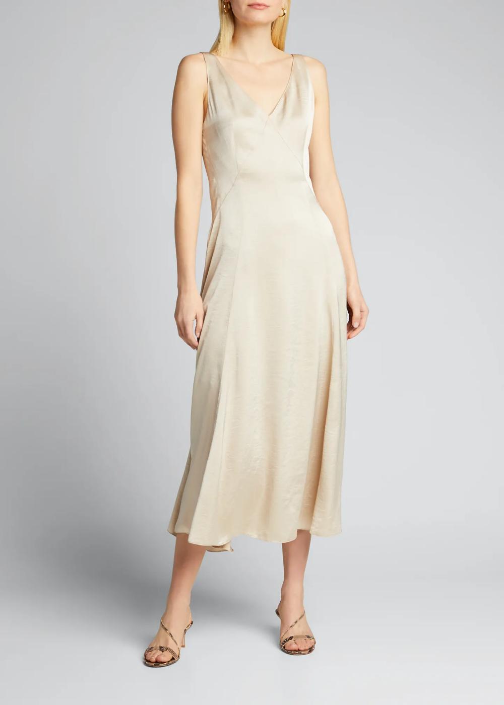 Elie Tahari Olive Sleeveless Satin Midi Dress Satin Midi Dress Dresses Midi Dress [ 1400 x 1000 Pixel ]