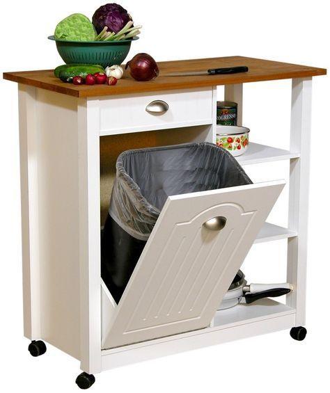Baxton Studio Denver White Modern Kitchen Cart Cart White