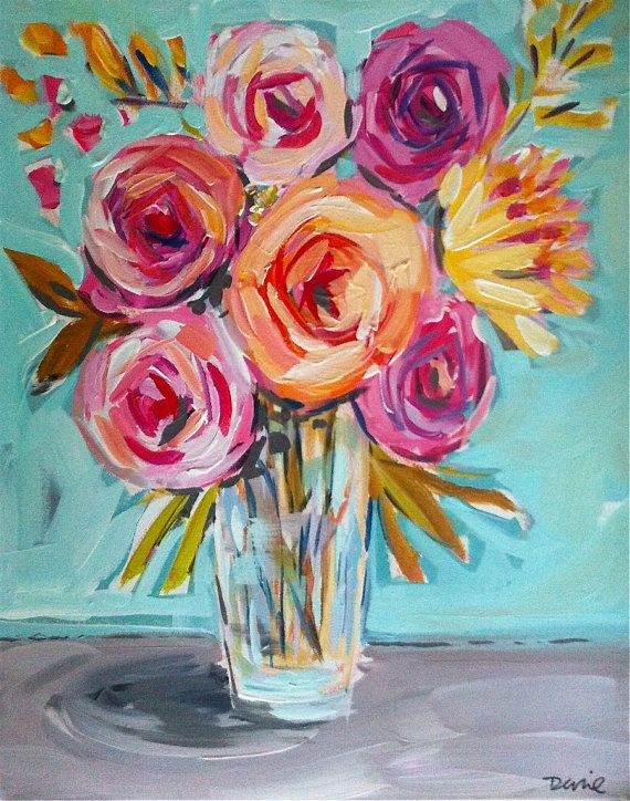 Flower Painting Abstract Roses Peonies Flower Art Abstract Flower Painting Roses Painting Pink Aqua Modern Abstract Flower Painting Flower Art Flower Art Painting