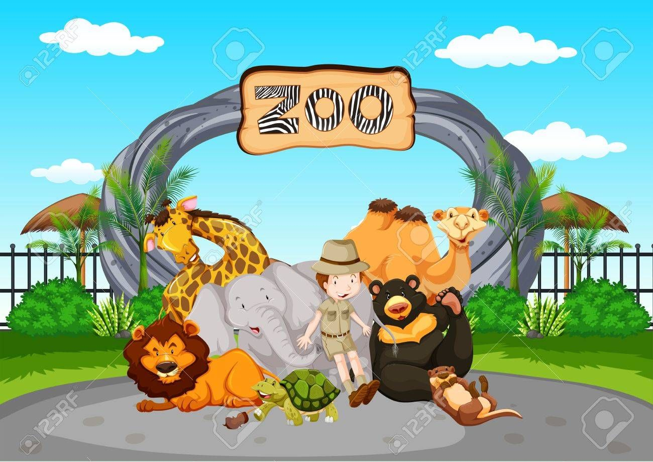 Scene at the zoo with zookeeper and animals illustration ,