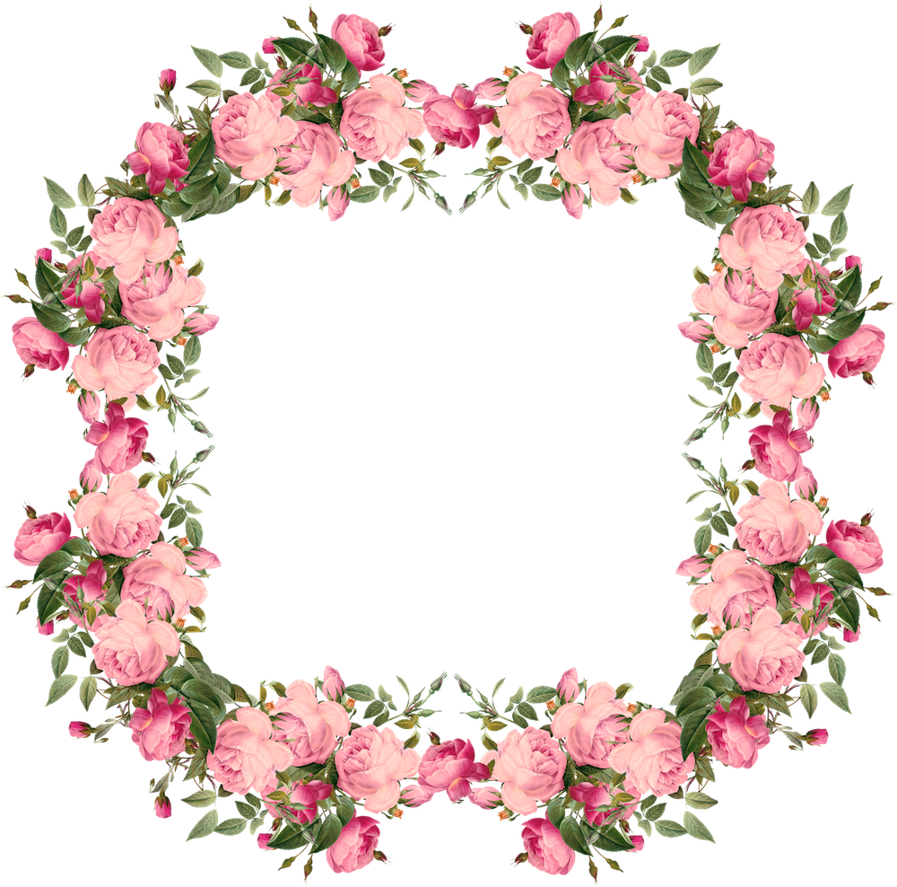 free faux vintage roses frame and borders png