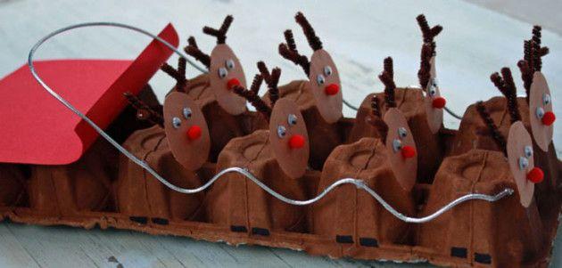 5 Manualidades navideñas para niños con hueveras de cartón Navidad