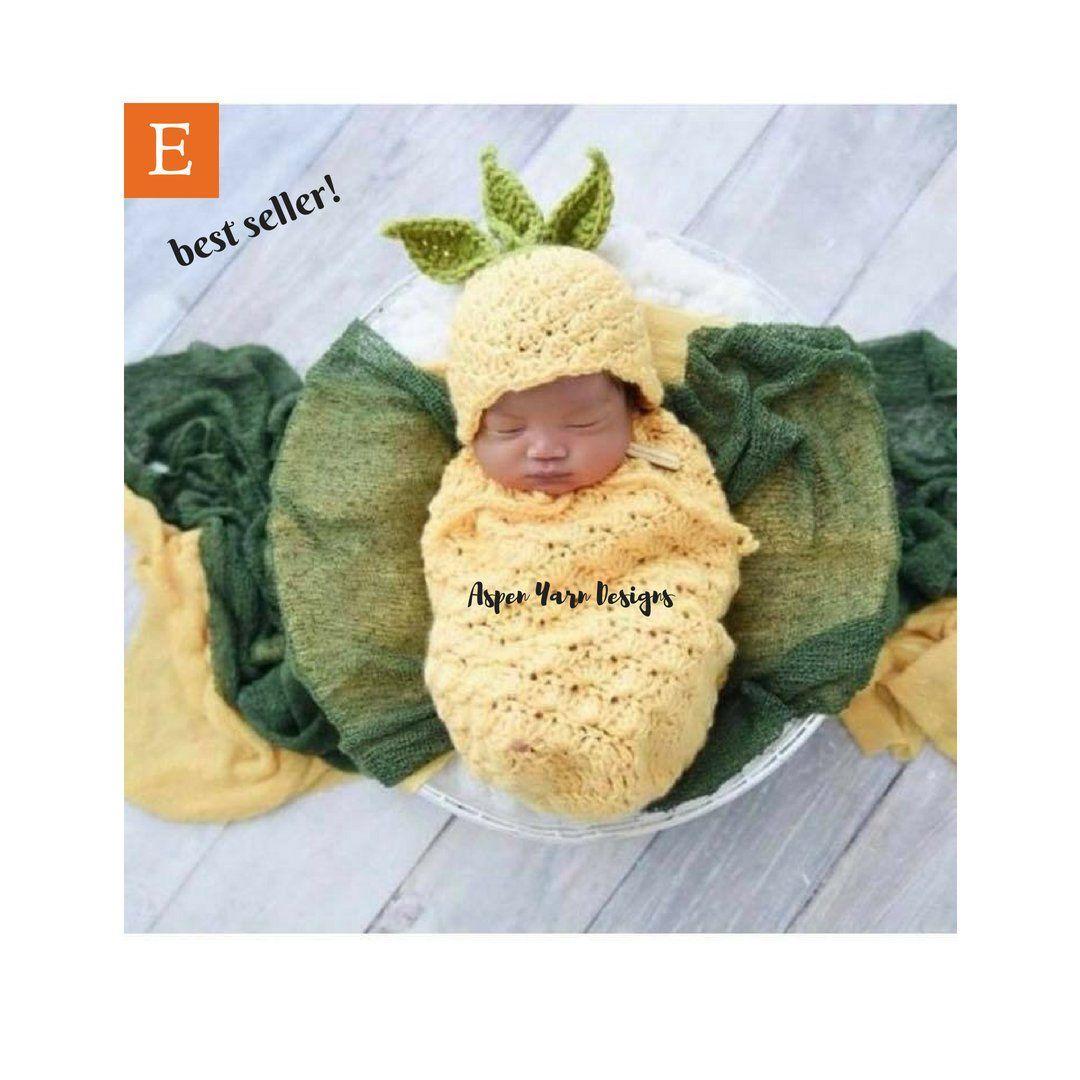 3d28d8e0ac504 Crochet Newborn Baby Pineapple Sack and Hat Set, Newborn Photo Prop ...