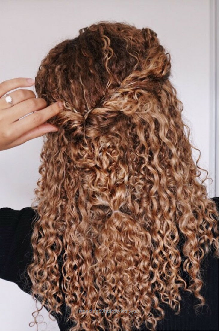Cool Curly Hairstyles Natural Hair 3b 3c Curls Half Updo Braids Blonde Ombre Curly Curly Hair Styles Curly Hair Styles Naturally Cute Curly Hairstyles