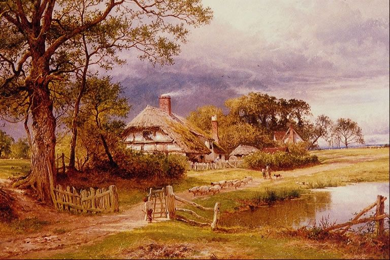 Famous landscape paintings old country cottages