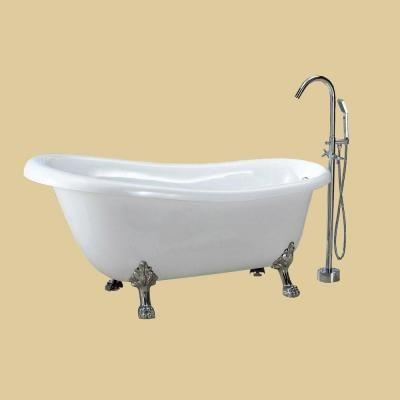 Dreamwerks 5 5 Ft Acrylic Clawfoot Non Whirlpool Bathtub In White
