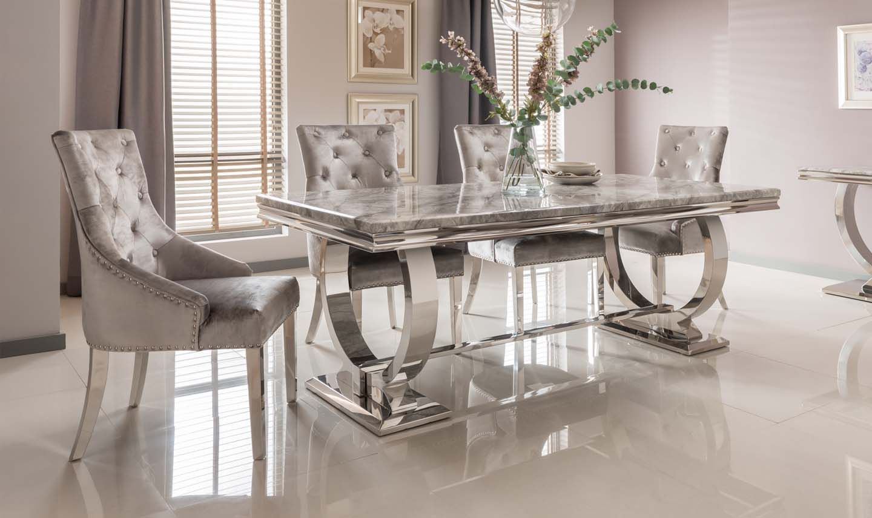 Adrianna Chrome Grey Marble Dining Table 200cm 6 Chairs