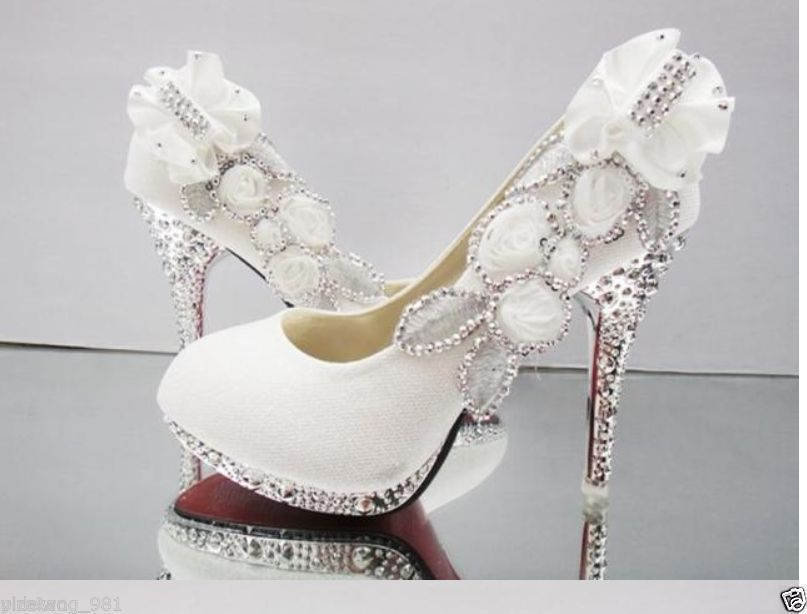 ffb33458bc92 White beautiful Vogue lace Flowers Crystal High Heels Wedding Bridal Shoes  Hot