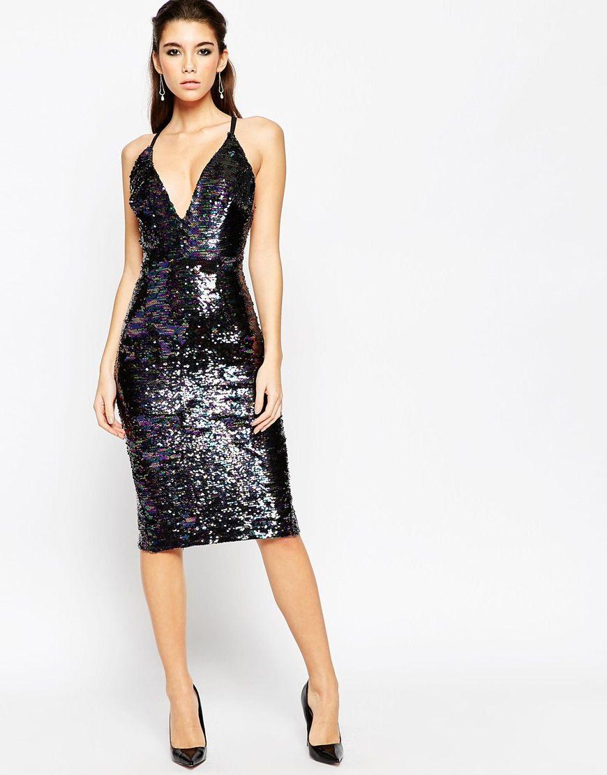 Black dress asos - Image 1 Of Asos Night Deep Plunge Sequin Midi Dress