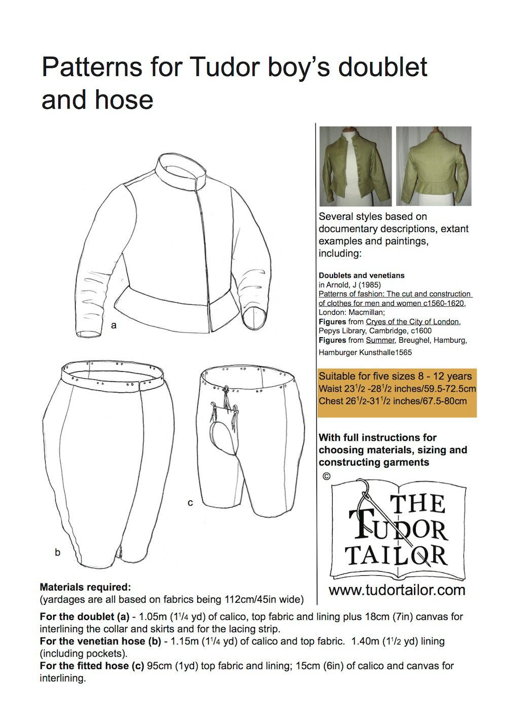 Shop | The Tudor Tailor | Pattern for Tudor Boy\'s Doublet and Hose ...