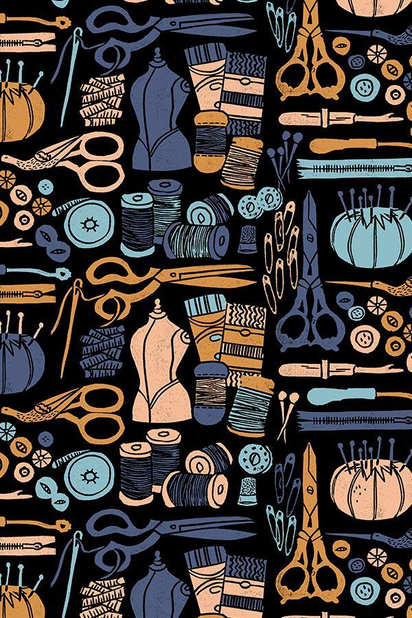 Sewing Notions Fabric : sewing, notions, fabric, Colorful, Fabrics, Digitally, Printed, Spoonflower, Sewing, Notions, Block, Print, Linocut, Scissors, Pincushions, Fabric, Andrea, Lauren, Machine, Drawing,