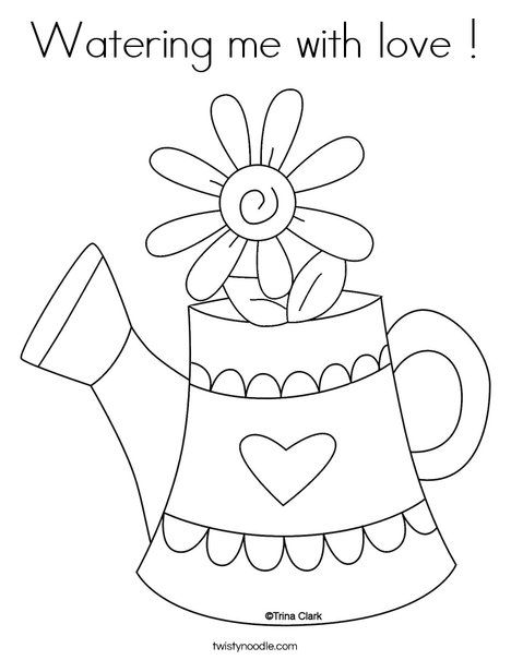 Watering Me With Love Coloring Page From Twistynoodle Com You