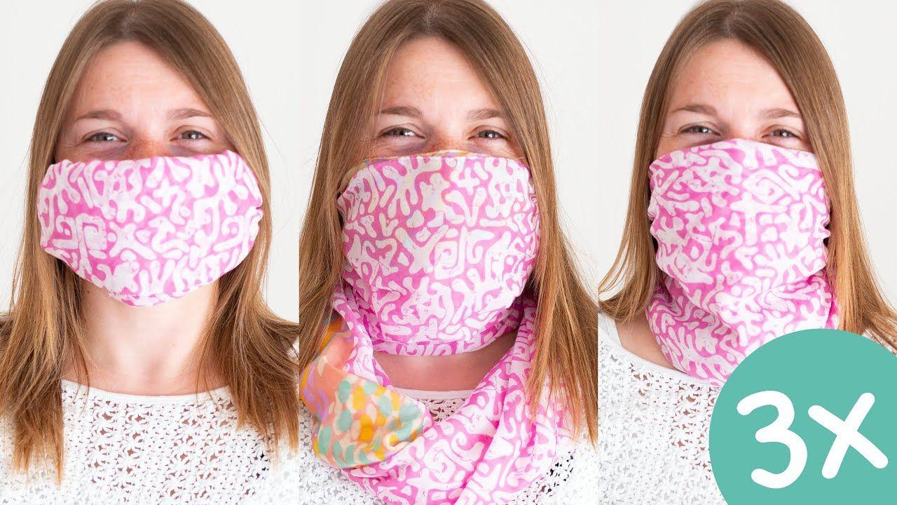 Mundschutz Maske OHNE Nähen aus Schal selber machen 😷 in