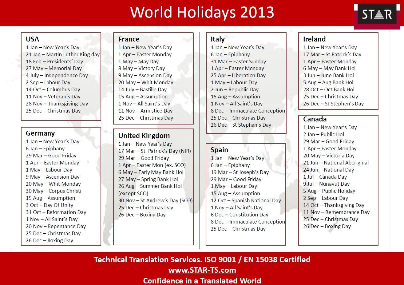 Calendar With Holidays Usa