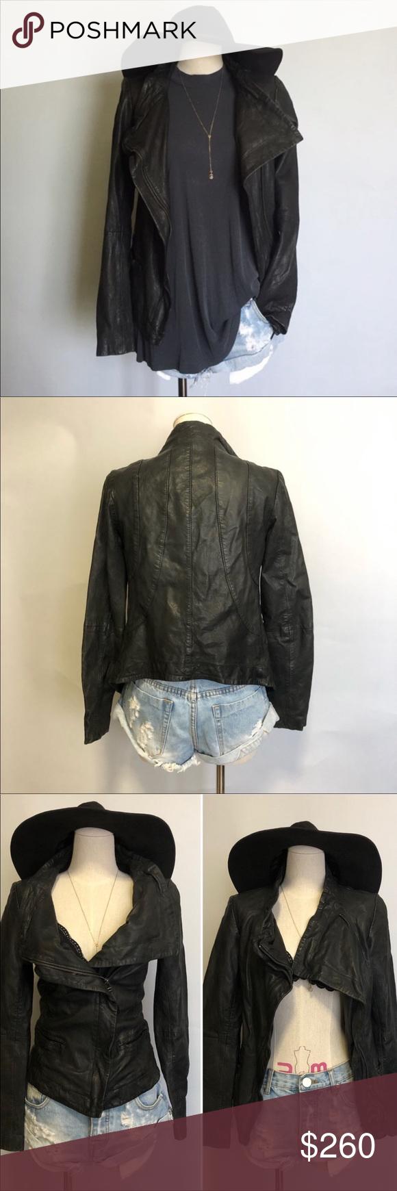 All Saints black leather jacket size is 6 Black leather