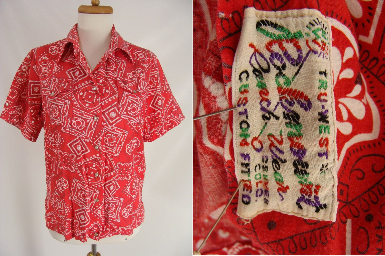Vintage 1970/'s Prior Westerns Denver Red White Bandana Rockabilly Shirt Sz M