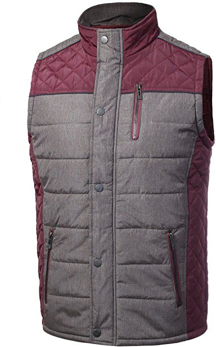 11b998de25 JD Apparel Mens Two-Tone Diamond Quilted Vest With Fur Inner Lining S Wine  at Amazon Men s Clothing store
