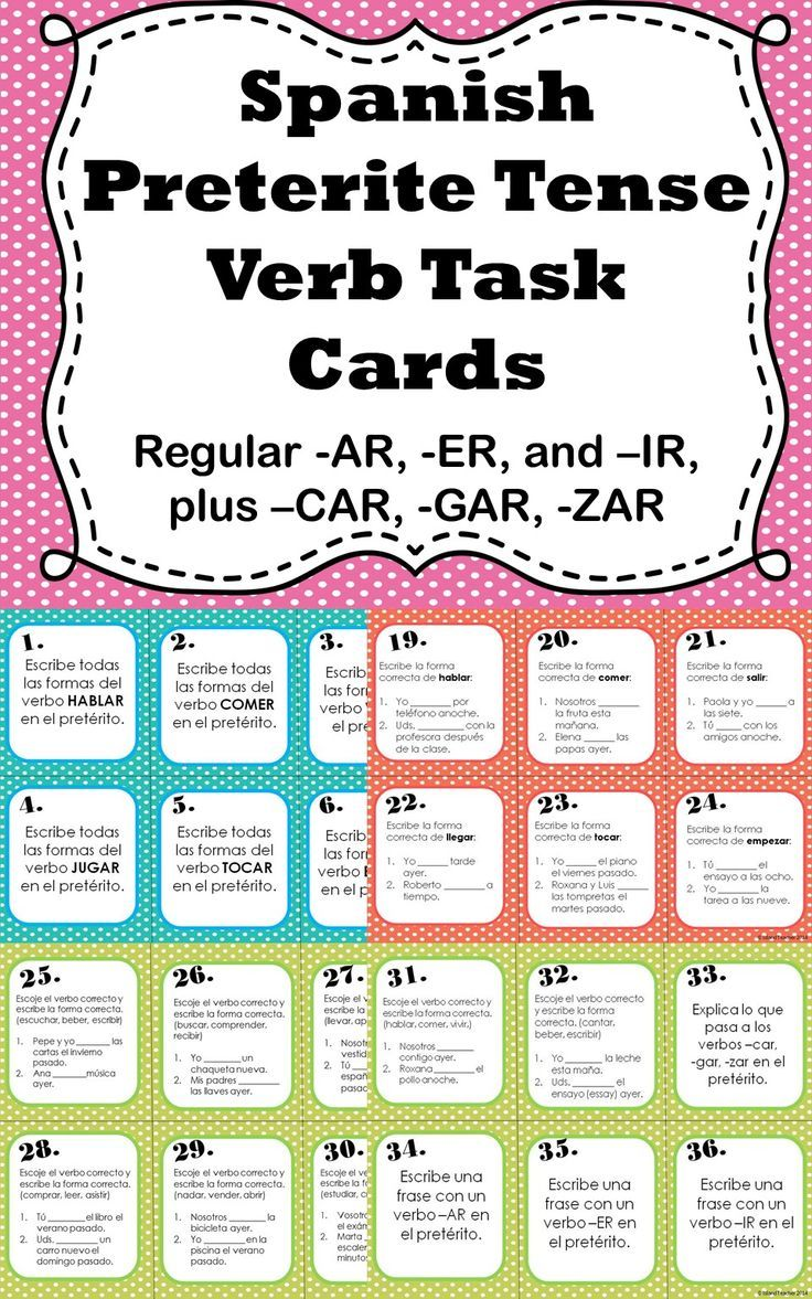 Spanish Preterite Tense Regular Verb Task Cards | Spanish, Spanish ...