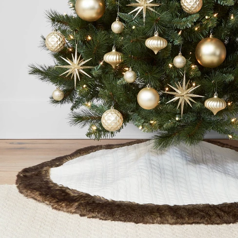 48 Faux Fur Cable Knit Christmas Tree Skirt Ivory Wondershop Christmas Tree Inspiration Silver Christmas Tree Christmas Decorations