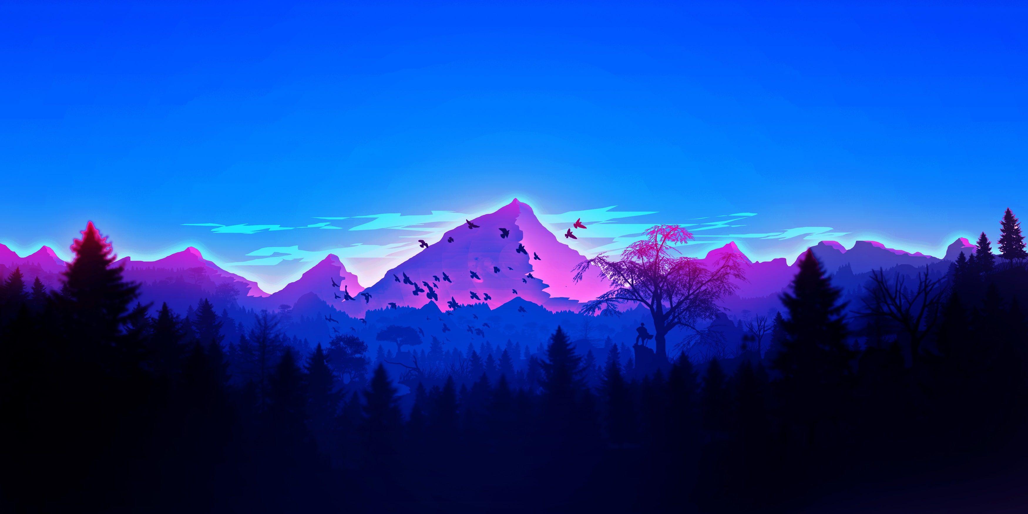 Artwork Landscape Mountains Forest Men Minimalism Vaporwave 2k Wallpaper Hdwallpaper Desktop In 2020 Vaporwave Wallpaper Minimalist Wallpaper Artwork