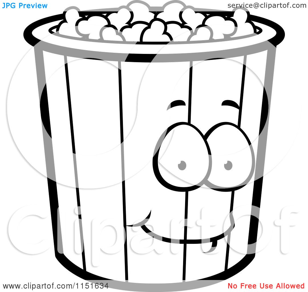 Popcorn Coloring Pages Via Popcorn Bucket Clip Art Black And