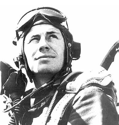 Capt. Chuck Yeager in the cockpit of his P-51D Mustang, late 1944.