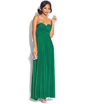 B Darlin Juniors' Pleated Jewel-Trim Dress