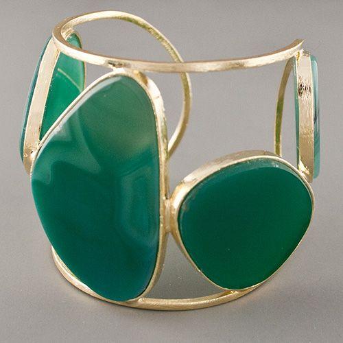 Marcia Moran Green Agate Chunky Cuff