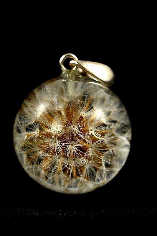 Hemisphere turquoise dandelion necklace on a silver chain Dandelion necklace 925 Sterling Silver
