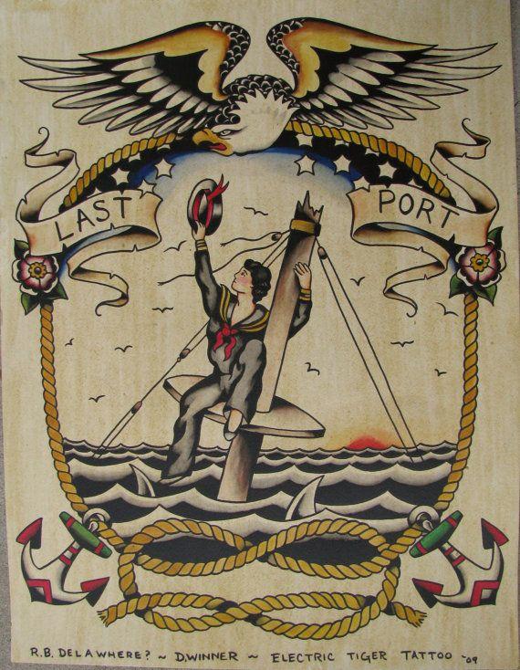 Hand painted original tattoo flash poster vintage style nautical maritime theme
