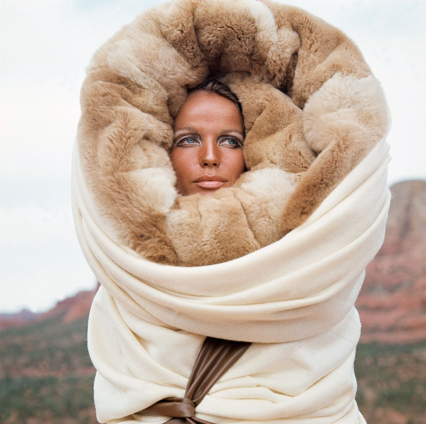 Veruschka in Giorgio di Sant'Angelo Wrap, photographed by Franco Rubartelli for Vogue, 1968