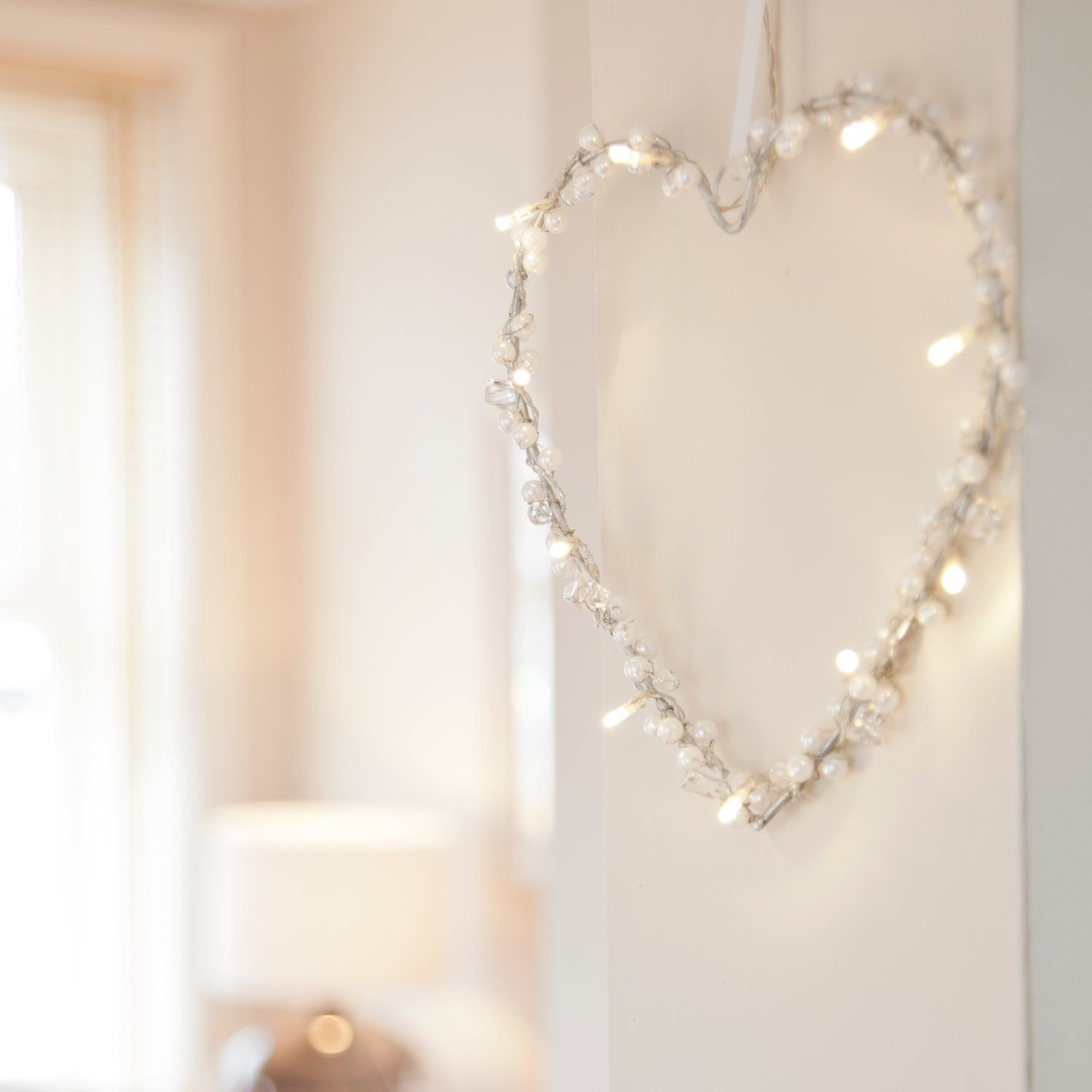 Bethlehem lights wreath battery operated - Battery Operated Heart Fairy Light Wreath With 10 Warm White Leds By