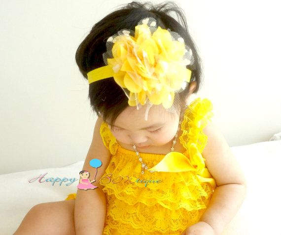 Large Yellow heart Dots Tutu Flower Headband, newborn headband, Baby girls headband , yellow headband, Baby Photo Props, Spring headdand