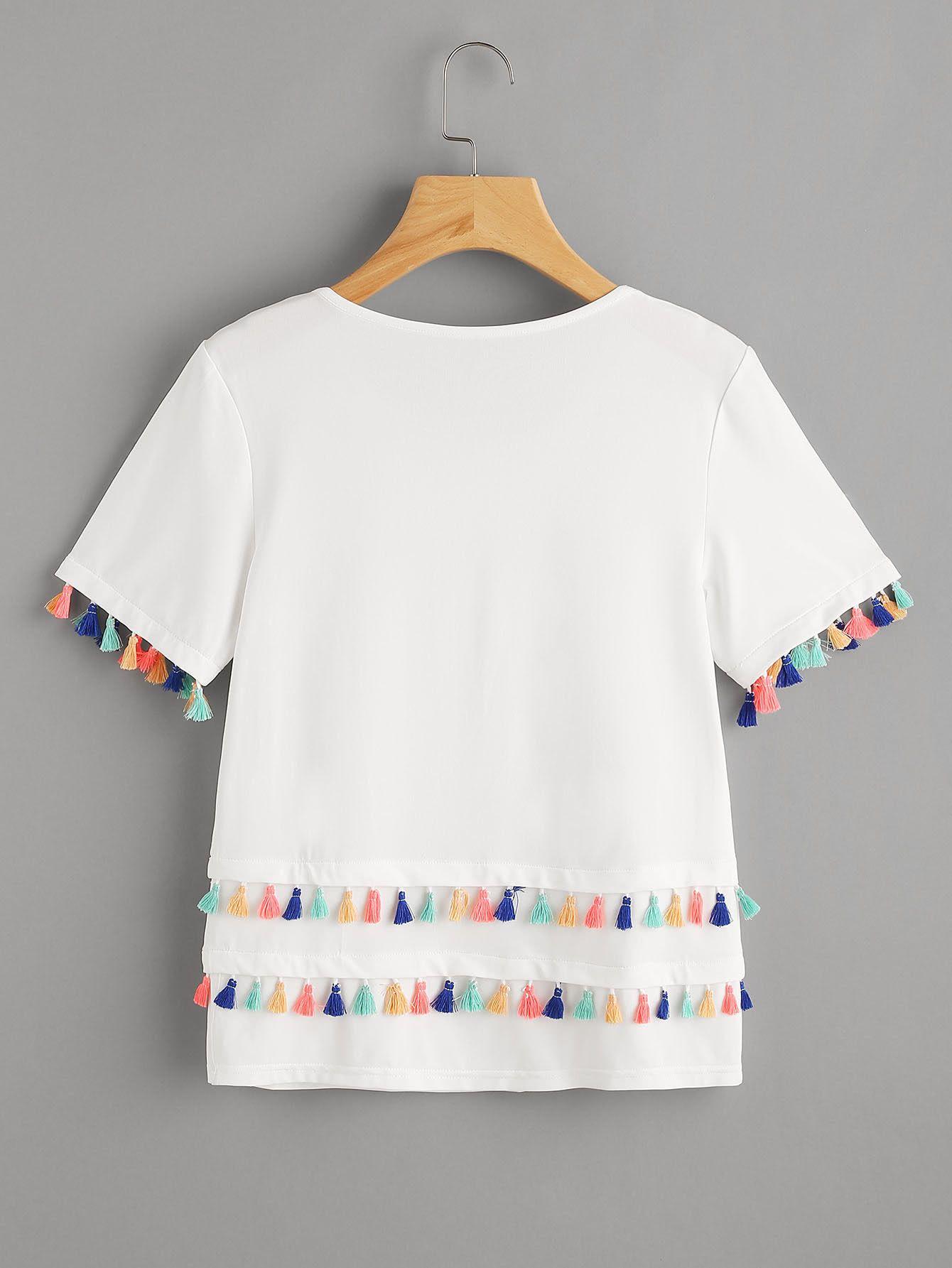 22e4697f30dc Camiseta con ribete de borlas -Spanish SheIn(Sheinside)   camisas ...