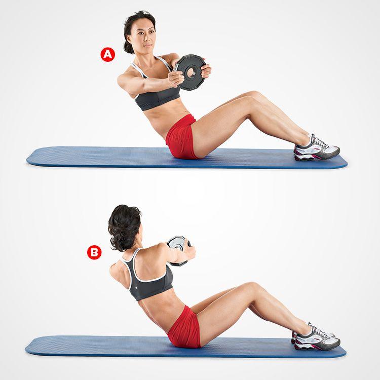 Weighted Russian Twist   wwwwomenshealthmag/fitness