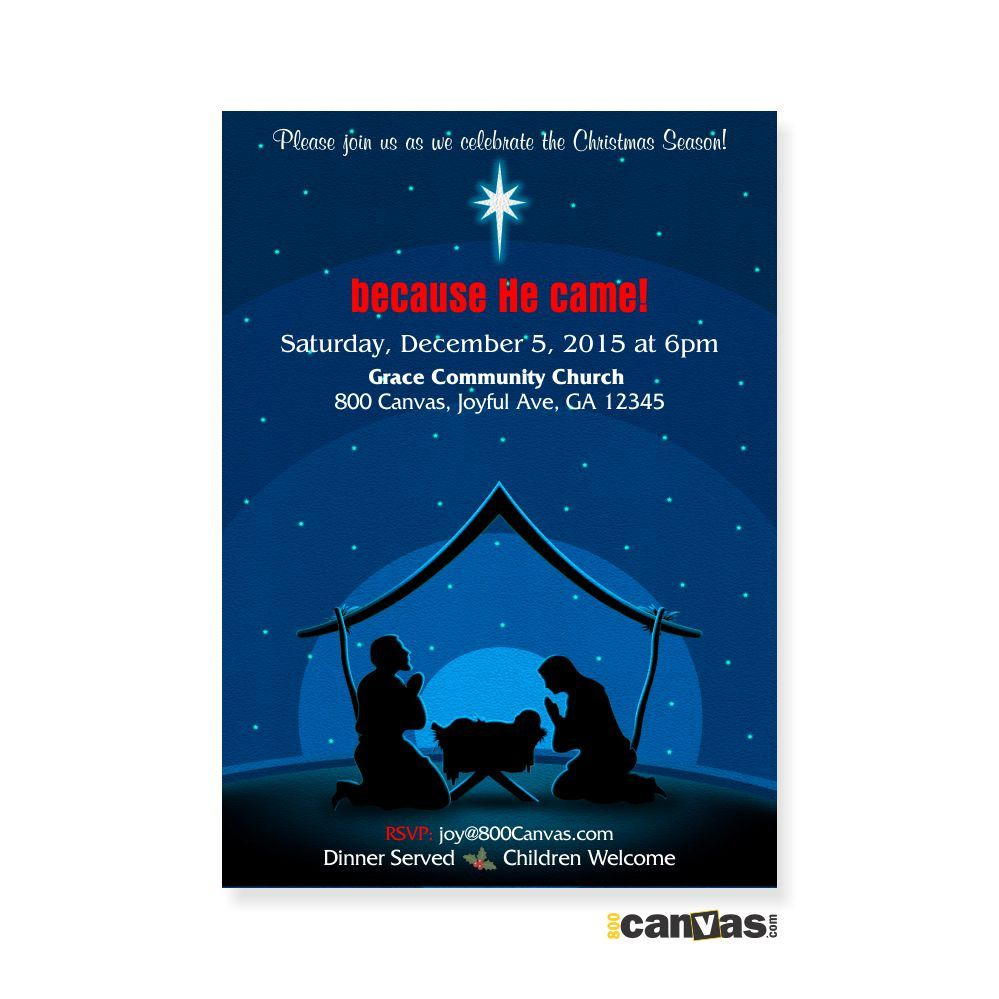 Religious Manger Scene Christmas Invitation,. Church Christmas Invites. Christmas Party. Baby Jesus. Star. Classic Christmas Invite 18 by 800Canvas on Etsy