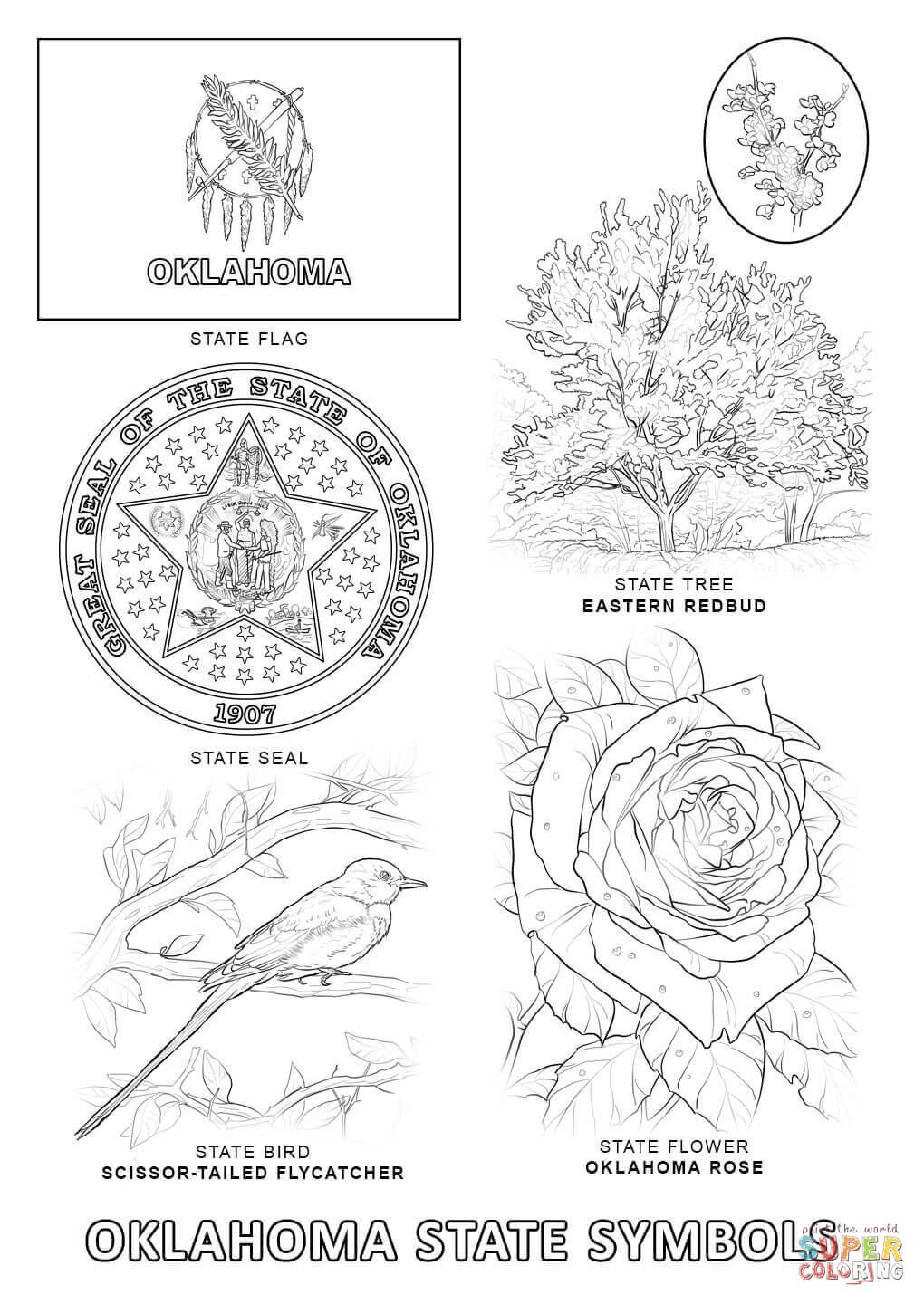 Oklahoma State Symbols Coloring Page Flag Coloring Pages