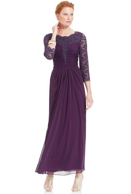 Brides: Alex Evenings. Three-quarter sleeve glitter lace gown ...