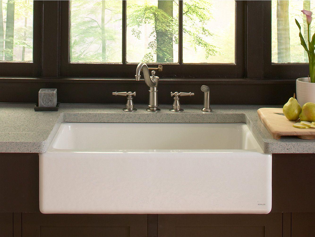 K 6546 4u Kohler Dickinson Apron Front Kitchen Sink With Four