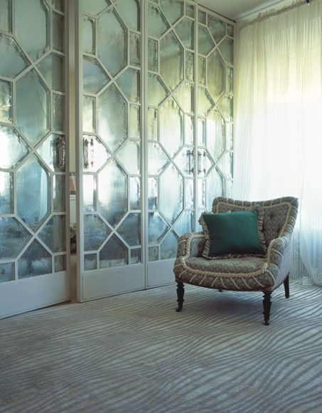 I Love This Rug And The Mercury Glass Panels For The Sliding Doors Mirror Closet Doors Room Home