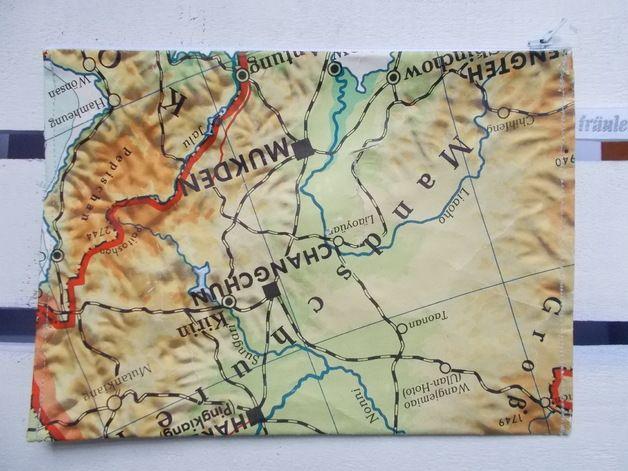 Universaltaschchen Tasche Aus Alter Landkarte 7 Ein