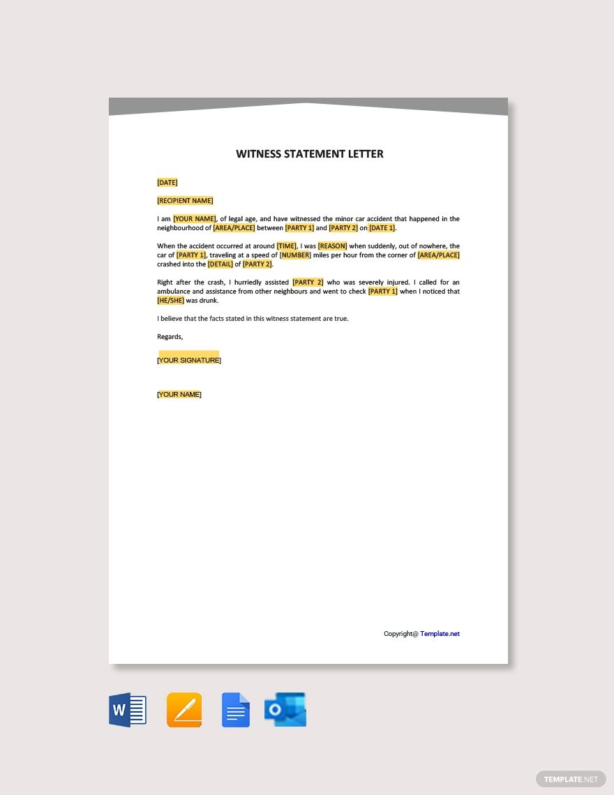 Free Witness Statement Letter Template Google Docs Word Apple Pages Template Net Lettering Letter Example Statement Template
